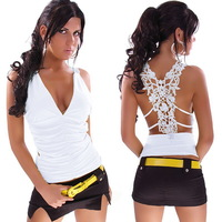 2014 the new  Fashion sexy lace sleeveless deep V Lady T-shirt  women's tops  Pierced Sexy ft941