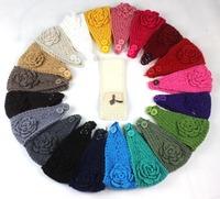 Women knitted headband with flower crochet headband Handmade tenia Mixed quantuty and  24 color New 200PCS/lot  Free Shipping