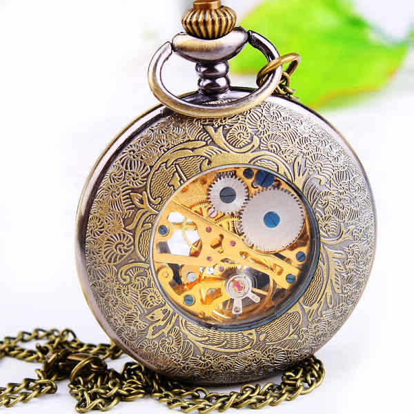 Brown mechanical men's watch clamshell quartz table all sorts of restoring ancient ways Free shipping i18(China (Mainland))