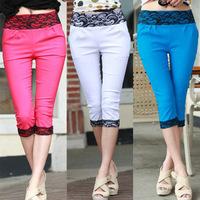 2014 summer candy color Women Pants Casual Lace Cotton Capri pants Woman slim cropped trousers ,drop shipping, W097