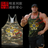 Npc Golds Gym powerhouse Camouflage bandboxes bodybuilding and fitness vest tank tops elastic cotton