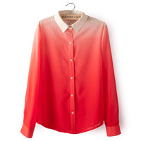HOT SALE Early 2014 Spring Women's Clothing Gradient Straight Lapel Long-Sleeved Shirt, Women Blouse