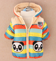 Horizontal stripe bear zipper back plus velvet hooded wadded jacket cotton-padded jacket