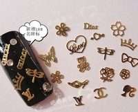 4000pcs/lot 48 design Hollow Style DIY Gold Metal Sticker slices Charms Wheel Nail Art set decorations