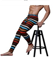 Men Sexy Slim Tight Thermal Underwear Mens Stripes Cotton Warm Long Johns For  Winter Clothes Panties  Free shipping