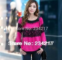New spring 2014 fashion women's clothing shirt loose fat big yards lace knitting clothing/green/red XL XXL XXXL XXXXL