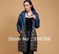 2013 Winter Women Famous Brand Blue Patch Big Size Long Down Coat