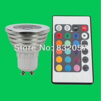 Free Shipping 3W RGB LED Spotlight Bulb Remote Controller 16 Colors Change Warranty 3 Years Super Bright RGB GU10 LED Spotlight