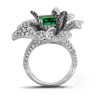 925 sterling silver inlaid emerald rectangular rounded flower ring female fashion exquisite luxury microscope