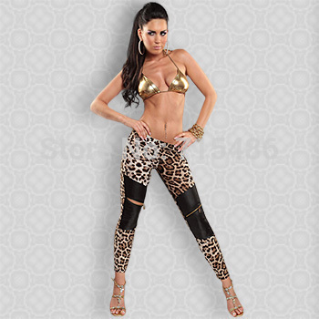 Sexy Slim Leggings Free Shipping Women Leopard Grain Elastic Leggings Cut Out with Black Leather Fashion Leggings(China (Mainland))