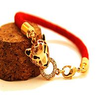 Hot sales fashion Chinese style lucky red string bracelet Leopard  Head bracelet full of rhinestone bracelets high quality J217