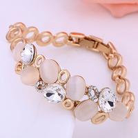 2014 new arrival CZ crystal bracelets & bangles 18K gold plated Shinning opal charm bracelet jewelry for women(Min order $8)