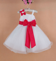 Retail hot sell!!!2013 new girls big bowknot princess dress girl tutu gauze dress girl short sleeve party dress free shipping