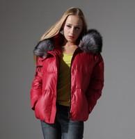 2014 Women Winter Brand Coat Short design white down coat female super large thickening fur collar  desigual free shipping