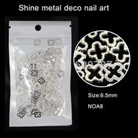 200pcs New nail DIY design silver flower metal nail studs charms supplies