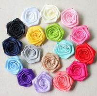 "2"" satin rose satin rosette 13 colors top quality DIY rose free shipping"