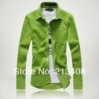 Freeshipping Mens corduroy Multi-color Long sleeve handsome men's shirts Casual Slim shirts