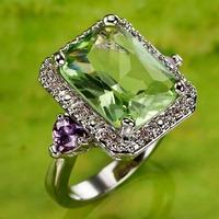 Princess Cut Silver Ring Size 9 R1-00354