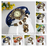 Vintage Women Girls Gift Brand Watch Genuine Real Leather Watch Kity Cats Clocks Party Watch Many Colors Hot Sales