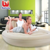 Deluxe Inflatable Double-Person Oval flocking PVC mattress air bed. Amazing foldable ourdoor mattress