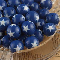 Free Shipping 4th Jult Royal Blue 20mm 105Pcs/Lot Star Printed Acrylic Beads Gumball Style for Chunky Necklace Jewrlry DIY