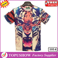 2014 New Fashion Tiger Printed T-shirt 3D Funny Animal Galaxy T-shirt Short Pullover Homies Tops Tees Big Size Women/Men Clothes