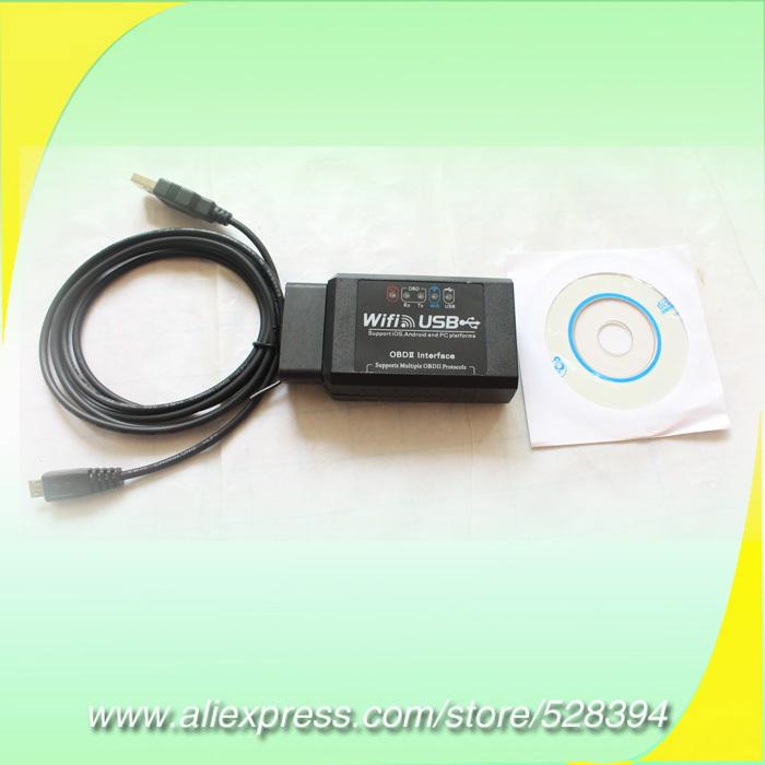 High Performance Diagnostic Tools OBD2 WIFI USB elm 327 elm327 Scanner WI-FI usb OBDII EOBD Auto scan tool 5pcs CN Free Shipping(China (Mainland))