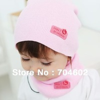 Retail autumn winter Solid color Knitting soft baby hat and scarf set 6color in stock Free shipping H310