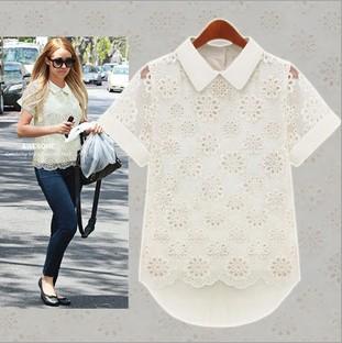 2014 New Fashion Summer Tops For Women Lace Blouses And Shirts Elegant Lapels Short Sleeve Plus Size Ladies Chiffon White Blouse(China (Mainland))