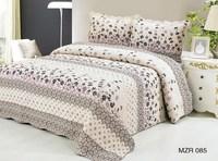 beige floral printing 3 pcs cotton ruffle queen comforter set
