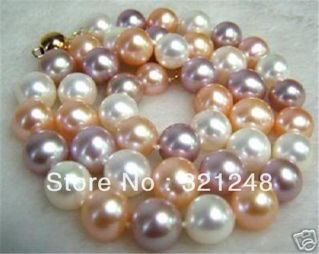 "DIY New! 8MM South Sea Multi-Color SHELL PEARL NECKLACE 18"" AAA beads jewelry making AAA+++ about52pcs/strands MY2001(China (Mainland))"