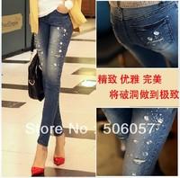 Free shipping 2014 Women's fashion casual beaded diamond hole stretch jeans feet pencil pants Size 26 27 28 29 30 31