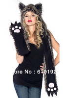 Ladies Adjustable Fashion Faux Fur Hat Panda Claws hat stage props Warm Animal Cute Cap Claws Hat Ear Scarf and Glove Together