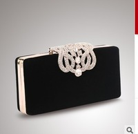 2014 New Women's Upscale Party Handbag Czech Diamond Crown Velvet Hard Case Clutch Evening Bag Chain Crossbody Messenger Bag