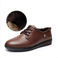 2013 New Fashion Man Winter Warm Flats With Fur High Quality Genuine Nubuck Leather Plush Lining Men's Brand Shoes Free Shipping