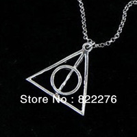 24pcs/Lot Free shipping  Wholesale Jewelry Harry Potter charm pendant necklace Deathly Hallows pendant necklace vintage necklace