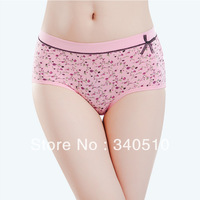Free Shipping Bamboo fibre mid waist panties women's print antibiotic breathable butt-lifting sexy underpants
