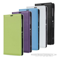 Genuine Leather Folio Cover Wallet Case with Card Holder for SONY Xperia Z1 L39H, Free Drop Shipping