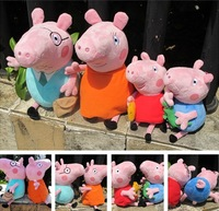 "4pcs/lot   Peppa Pig Toys Peppa Pig Plush Daddy Mummy George Pig Peppa Pig Family 12"" Kids Gifts free shpping by hk post"