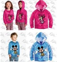 New design 2014s pring autumn children hoody jacket girl/boy cartoon minnie mickey long sleeve cotton hoodies sweatshirts 2color