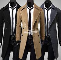 Men's Stylish Trench Coat Winter Woolen Long Double Breasted Overcoat Outerwear M-XXXL 3 Colors 17345