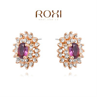 ROXI Free Shipping Christmas Gift Purple Zircon Earrings For Women Brincos Grandes Rose Gold Plated Earrings Fashion Jewelry