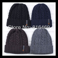 Free Shipping! 2013 Hot Winter Man's Crochet Cashmere With Wool Hat Baggy Ski Cap Leisure Hats Woman fashion warm hats