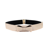 New 2014 Spring Fashion Designer Gold Color  Alloy Rock Bow Style Elastic Belts For Women