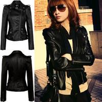 Black Epaulet Brand PU Motorcycle Jackets Leather Jacket Women Ladies Girl 2015 Spring Autumn New Fashion Slim Clothing Jaqueta