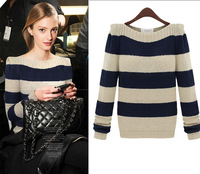 Winter Fashion Women Crew Neck Long Sleeve Stripe  Knit Sweater Warm Tops Free Shipping
