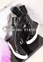 New arrival women lace up boots black patent leather stone pattern long booty Fall winter zipper boots size 35 36 37 38 39 40