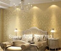 Victorian European Classic Vintage Glitter Damask Wallpaper Roll gold silver purple grey white cream