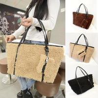 New Korean fashion handbags shoulder bag bag plush Teddy Cotton Flax Curly casual fashion handbags wholesale G377
