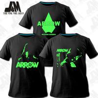 Green Arrow Man Oliver Queen Arrow Cosplay Costume Tee T Shirts 3 items Luminous shirt cool men tshirt XXXL free shipping
